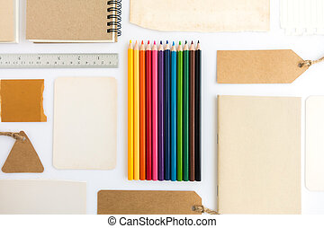 lápices, tarjeta, papel, color, colección, cartón, libro, vario, shadows., etiqueta, suave