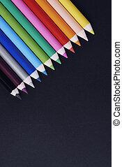 lápices, tiro, colorido, directamente arriba