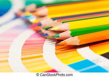 lápices, todos, coloreado, tabla de apariencia, colores