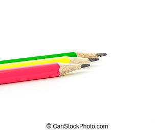 lápices, tres, coloreado