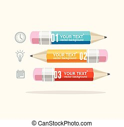 lápices, vector, empresa / negocio, infographics