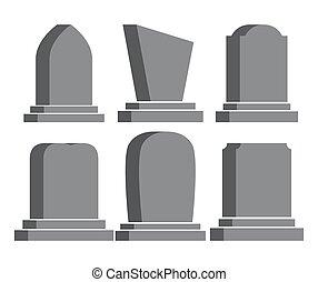lápida, aislado, fondo blanco, conjunto, icono, halloween