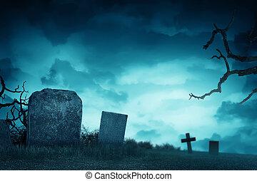 lápida, atmósfera, cementerio, escalofriante