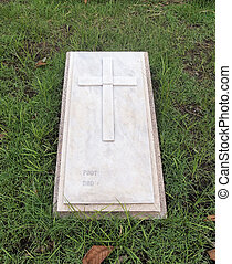 lápida, con, cristiano, cruz, y, texto, espacio