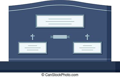 lápida, cripta, vector, construcción, para, muerto, gente,...