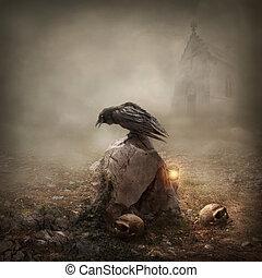 lápida, cuervo, sentado