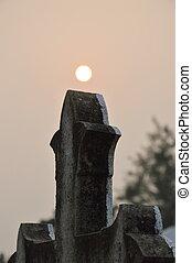 lápida, en, amanecer