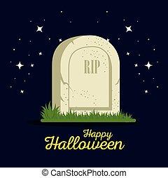 lápida, halloween, caricatura