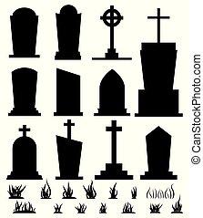 lápida, illustration., silueta, backgroundvector, feriado, ...