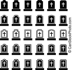 lápida, símbolo, negro, cruz