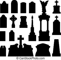 lápida, y, lápida, silueta