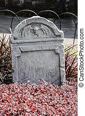 lápida, y, tumbas, en, un, antiguo, iglesia, cementerio
