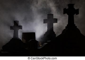lápide, crucifixos, em, cemitério, em, night.