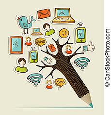 lápis, árvore, social