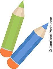 lápis, ícone, apartamento, caricatura, style., isolado, branco, experiência., vetorial, illustration.