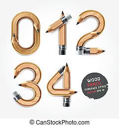 lápis, alfabeto, madeira, style., números