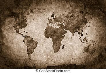 lápis, antigas, esboço, antiga, vindima, map., grunge, textura, fundo, mundo