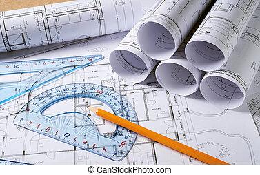 lápis, arquitetura, planos