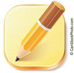 lápis, avião, ícone, textured