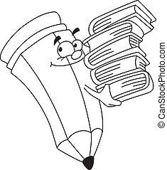 lápis, bookish, esboçado