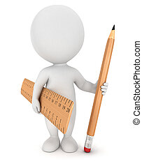 lápis, branca, 3d, régua, pessoas