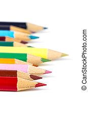 lápis, branca, experiência colorida