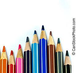lápis, branca, experiência colorida, ondas