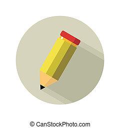 lápis, branca, isolado, amarela