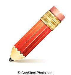 lápis, branca, isolado, experiência.