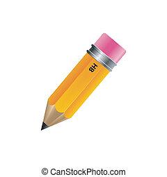 lápis, branca, isolado, fundo