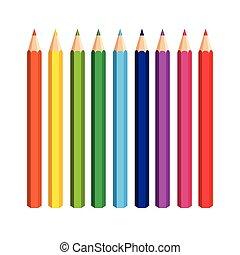 lápis, branca, jogo, fundo, coloridos