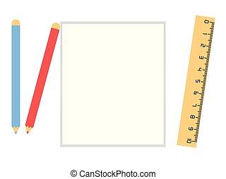 lápis, branca, papel, folha, régua