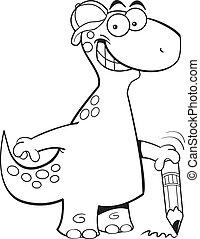 lápis, brontosaurus, segurando