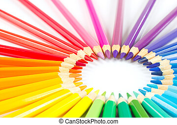 lápis, círculo, branca, experiência colorida