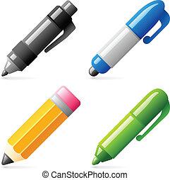 lápis, caneta, ícones