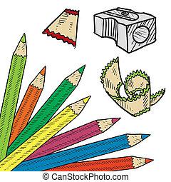 lápis, canto, colorido, esboço