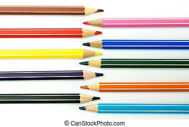 lápis, colorido, enfrentando, outro, fundo, cada, branca