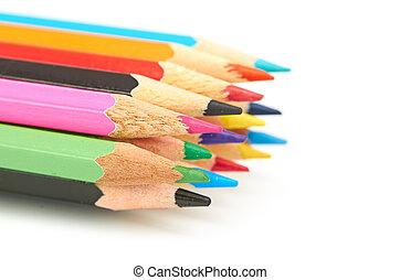 lápis, colorido, macro