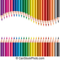 lápis coloridos, em, filas