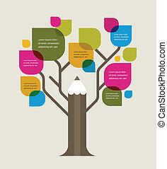 lápis, coloridos, espaço, texto, árvore, educação