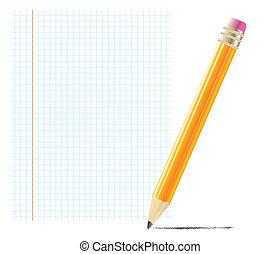 lápis, com, em branco, papel