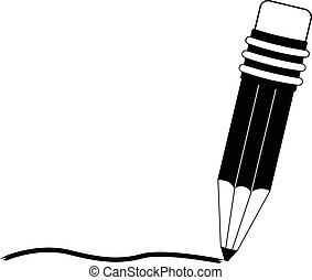 lápis, com, escrita, apoplexia, linha