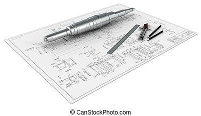 lápis, compassos, eixo, metal, réguas, engenharia, desenho