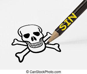 lápis, conceito, cranio, guiando, pecado, mortos, desenho