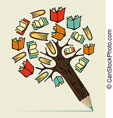 lápis, conceito, educação, leitura, árvore