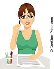 lápis, conceito, pensando, atraente, segurando, secretária
