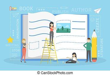 lápis, conceito, pessoas, escrita, livro, pequeno
