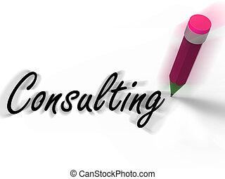 lápis, consultar, conselho, escrito, consulta, monitores