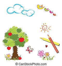 lápis cor, coloridos, desenho, fundo