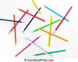 lápis, cor, fundo branco